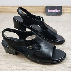 SAS Tripad Comfort Black Leather Heel Strap Sandal